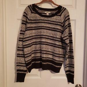 Bass Black and White Fair isle Sweater